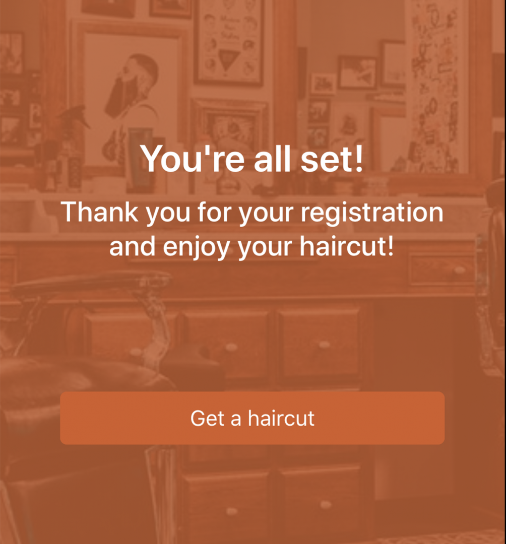 hair cut app trimco appointment confirmation